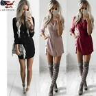 Women's Summer Long Sleeve Casual Blouse Loose V-Neckline Mini Shirt Dress Tunic