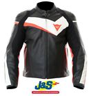 Dainese Velostar Leather Motorcycle Jacket Motorcycle Race Black White Red J&S