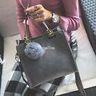 Women Handbag with Hairball Pendant and Detachable Shoulder Strap RR6