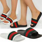 Womens Ladies Flat Striped Sliders Summer Sandals Slides Mules Slippers Size
