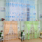 Floral Flower Voile Drape Panel Window Door Curtain Sheer Scarf Valances Decor