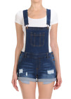Women Adjustable Juniors Overall Shorts Distressed Denim Romper (S-3XL)