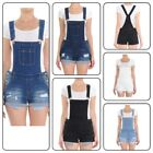 Casual Women Washed Jeans Jumpsuit Denim Hole  Romper Overalls  Shorts (S-3XL)