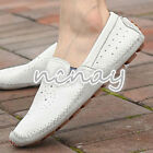 Fashion Mens Leather Casual Driving Moccasin Shoes Slip On Flats Breath Loafers