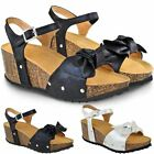 Womens Ladies Low Heel Wedge Sandals Cushioned Comfort Strappy Open Toe Summer