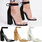 New Womens Perspex Clear Block Heel Strappy Sandals Ankle Lace Tie Up Size