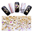 Gold Moon Star Goldline 3D Nail Art Decoration Rhinestones Metal Alloy Studs