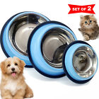Blue Stainless Steel. Non Skid Pet Dog Puppy Cat Feeding Bowl Dish. SET of 2