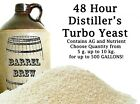 48 Hour Turbo Yeast w/ AG Moonshine Alcohol Whiskey Rum Vodka UP TO 500 GALLONS