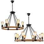 Retro Rustic Candle Ceiling Light Rope Iron Round Chandelier Industrial Pendant