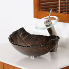 Hot Melted and Hand Painted Glass Autumn Leaf Shaped Bow Vessel Bathroom Sink