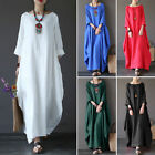 Womens Summer Boho Cotton Linen Casual Kaftan Basic Tunic Maxi Long Dress S-5XL