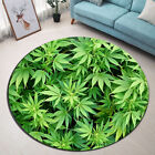 Green Marijuana Leaves Design Round Mat Bedroom Carpet Living Room Area Rugs New