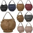 New Faux Leather Baggy Grab Handle Ladies Bucket Tote Bag Handbag