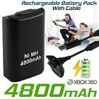 1 2 4800mAh Rechargeable Battery USB Charger Cable Pack for XBOX360 Controller