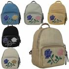 Ladies New Canvas Floral Embellishment Casual Fashion Backpack