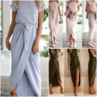 Ladies Solid Color Belted Long Party Anti-sleeve Flat-tie Jumper Dress Size S-XL
