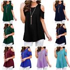 Summer Womens Casual loose strapless T-shirt Short Sleeve Blouse Size S-XXL