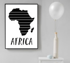 Silhouette Monochrome Country Land Map Wall Art Print Africa UK USA Poster China