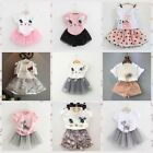 Toddler Kids Girls Baby Outfits Clothes T-shirt Tops+Tutu Dress Skirt 2PCS Set
