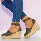 Women Ankle Strap Open Toe Wedge High heels Sandals Espadrilles Platform Shoes#3