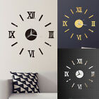 Modern Large 3D Mirror Surface Wall Clock Sticker Home Office Room DIY Decor
