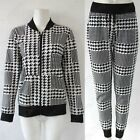 WOMENS DOGTOOTH CHECK BOMBER ZIP UP JACKET LADIES HAREM TROUSERS LOUNGEWEAR SUIT