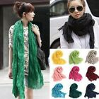 New Women's Large Solid Cotton Blend Viscose Voile Scarf Shawl Wrap 180cmx50cm