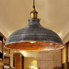 Industrail Warehouse Pendant Light Silver Dome Shade Hanging Ceiling Fixture
