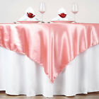 "60"" Squre SATIN TABLE OVERLAYS Wedding Catering Event Dinner Supply Decorations"