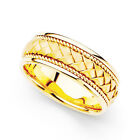 14k Yellow Gold Men's 8-mm Hand-braided Comfort-fit Wedding Band