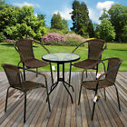 3 & 5 Piece Bistro Set Chocolate Wicker Rattan Woven Chairs Round Glass Table