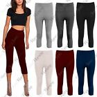 New Womens Ribbed 3/4 Length Gym Cropped Stretchy Skinny Capri Leggings Pants