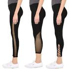 Womens Mesh Panel Capri Leggings Active Yoga Fitness Gym Fashion Regular Plus