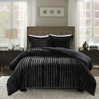 Full Queen Cal King Bed Solid Black Ebony Striped Faux Fur 3 pc Comforter Set image