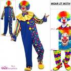 Mens Deluxe Clown Costume Adult Circus Halloween Carnival Fun Fancy Dress Outfit