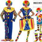 Adults Deluxe Clown Costume Couples Mens Womens Circus Carnival Fun Fancy Dress