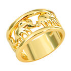 Lucky Elephant Ring Wedding Band 10KT Yellow Gold Filled Women Jewelry Size 6-10