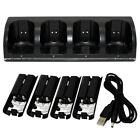 4 IN 1 Wii Controller Charging Dock Station With 4 Rechargeable Batteries LED
