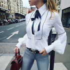 US Stock Womens Summer Long Sleeve Shirts Top Casual Blouse Tops T-Shirt Tee Top