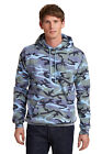 Mens Camo Camouflage Hoodie Pullover Hooded Sweatshirt Port & Company S-4XL
