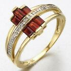 Fashion Red Garnet 18K Gold Filled Womens Engagement Ring Gift Size 6-10
