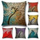Oil Painting Tree Cotton Linen Pillow Cases Throw Cushion Covers Home Decor