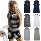 Hot Women Sleeveless Hoodie Sweatshirt Hooded Shirt Jumper Top Summer Mini Dress