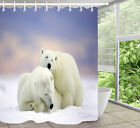 Snowfield Polar Bear Couple Shower Curtain Set Polyester Waterproof Fabric Hooks