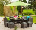 Yakoe Outdoor Furniture 10 Seater Rattan Corner Cube Sofa Set Free Parasol&Cover