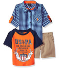 U.S. Polo Assn. Boys' Long Sleeve Woven Shirt, T-Shirt and Short Set
