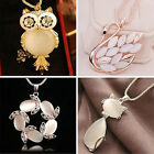 Qa_ Fashion Jewelry Crystal Opal Owl Pendant Chain Gold Sweater Long Necklace
