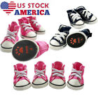 US 4X/Set Pet Dog Puppy Sports Cloth Shoes Boots Denim Canvas Sneaker Shoes