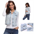 Women's Denim Vest Ripped Button up Sleeveless Jeans Jacket